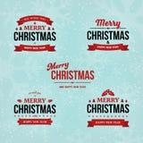 Reeks Vrolijke Kerstmis en Gelukkige Nieuwjaar uitstekende kentekens op de achtergrond van de vakantiewinter met dalende sneeuw e Royalty-vrije Stock Fotografie