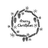 Reeks Vrolijke Kerstmis en Gelukkige Nieuwjaarskaarten Moderne kalligrafie Hand het van letters voorzien voor groetkaarten, fotob Stock Afbeeldingen