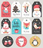 Reeks Vrolijke Kerstmis en Nieuwjaargiftmarkeringen en kaarten Stock Afbeeldingen