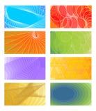 Reeks vrolijke vectorachtergronden voor adreskaartje, vlieger, pamflet, dekking Divers lichtgroen kleurenrood, oranje, viooltje Royalty-vrije Stock Fotografie