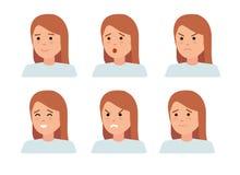 Reeks vrouwelijke gezichtsemoties Het karakter van vrouwenemoji met verschillende uitdrukkingen Royalty-vrije Stock Foto's