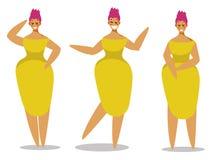 Reeks vrouwelijke karakters in vlak ontwerp stock illustratie