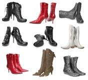 Reeks vrouwelijke laarzen Stock Afbeeldingen