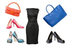 Reeks vrouwelijke schoenen, kleding en zakken Stock Foto