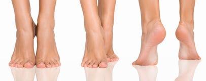 Reeks vrouwelijke voeten van verschillende die richtingen op wit worden geïsoleerd royalty-vrije stock afbeelding