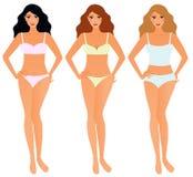 Reeks vrouwen in ondergoed stock illustratie