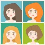 Reeks vrouwen vectoravatars Stock Illustratie