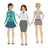 Reeks vrouwen in verschillende kleren Stock Afbeelding