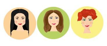 Reeks vrouwenavatars met verschillend kapsel Websiteavatar symbolen De media van het vrouwenweb elementeninzameling Royalty-vrije Stock Afbeelding