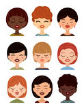 Reeks vrouwenavatars, profielbeelden Vectormeisjesavatar, vlakke pictogrammen Royalty-vrije Stock Fotografie