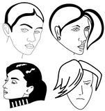 Reeks vrouwengezichten Stock Foto's