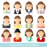 Reeks vrouwenpictogrammen in vlakke stijl Verschillende beroepenleeftijd en stijl Royalty-vrije Stock Foto