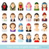 Reeks vrouwenpictogrammen in vlakke stijl Verschillende leeftijd en stijl van de jeugdbewegingen Stock Fotografie