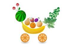 Reeks vruchten in de vorm van boodschappenwagentjes Aardbei, kers, peer, appel, mandarin, banaan, watermeloen, pruim, druif Royalty-vrije Stock Foto