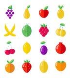 Reeks vruchten en bessen Royalty-vrije Stock Foto's