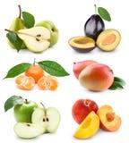 Reeks vruchten en groenten stock afbeeldingen