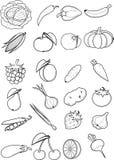 Reeks vruchten en groenten Royalty-vrije Stock Foto's