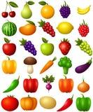 Reeks vruchten en groenten die op witte achtergrond worden geïsoleerd? vector illustratie