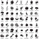 Reeks vruchten en groentenpictogrammen Stock Foto's