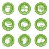 Reeks vruchten pictogrammen in groene kleur Royalty-vrije Stock Afbeeldingen
