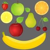 Reeks vruchten. Vector illustratie. Royalty-vrije Stock Foto