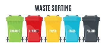 Reeks vuilnisbakken voor afzonderlijke huisvuilpictogrammen vector illustratie