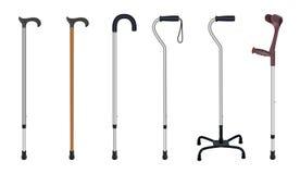 Reeks wandelstokken en steunpilaren Telescopisch metaalriet, houten riet, riet met extra steun, elleboog crutc Royalty-vrije Stock Foto's