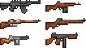 Reeks wapenpictogrammen in pixelstijl Royalty-vrije Stock Foto's