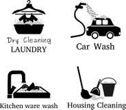 Reeks wassen, auto, werktuigen, wasserij, vloer royalty-vrije stock afbeeldingen