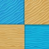 Reeks Water en Zandgolvenachtergronden Royalty-vrije Stock Afbeeldingen