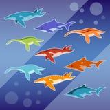 Reeks water Jurareptielen Royalty-vrije Stock Afbeeldingen