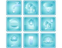 Reeks waterpictogrammen Royalty-vrije Stock Afbeeldingen