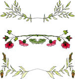 Reeks waterverf bloemengrenzen Stock Afbeelding