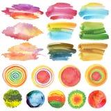 Reeks waterverf geschilderde ontwerpelementen Royalty-vrije Stock Afbeeldingen