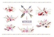 Reeks waterverf uitstekende bloemenboeketten De Boholente bloeien en het bladkader dat op witte achtergrond wordt geïsoleerd: suc Royalty-vrije Stock Foto