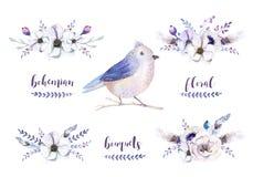 Reeks waterverf uitstekende bloemenboeketten met veer Boho spr stock illustratie