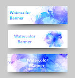 Reeks waterverfbanners Royalty-vrije Stock Foto