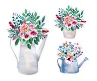 Reeks waterverfboeketten De bloemen van de lente in pot rustic royalty-vrije illustratie