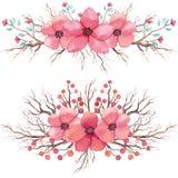 Reeks Waterverfboeketten met Rode en Roze Bloemen Royalty-vrije Stock Afbeelding