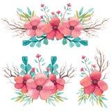 Reeks Waterverfboeketten met Takken en Roze Bloemen Stock Afbeeldingen