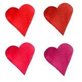 Reeks waterverfharten Geschilderde hand Geïsoleerde voorwerpen perfect voor de dagkaart van Valentine ` s of romantische prentbri Royalty-vrije Stock Foto's