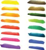 Reeks waterverfstrepen in trillende kleuren Stock Fotografie