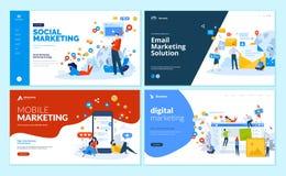 Reeks Web-pagina ontwerpmalplaatjes voor digitale marketing, mobiele oplossingen, voorzien van een netwerk en e-mail marketing royalty-vrije illustratie