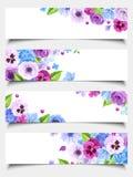 Reeks Webbanners met blauwe en purpere bloemen Vector illustratie Royalty-vrije Stock Foto's