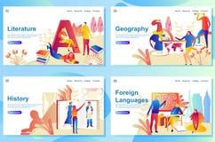 Reeks webpaginaontwerpsjablonen voor onderwerp in school Literatuur, Aardrijkskunde, Geschiedenis en vreemde talen vector illustratie