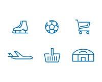 Reeks Webpictogrammen voor verschillende voorwerpen, sport Royalty-vrije Stock Afbeelding