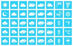 Reeks weerpictogrammen Stock Afbeeldingen