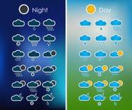 Reeks weerpictogrammen voor de interface Stock Fotografie
