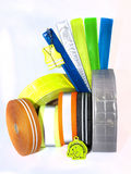 Reeks weerspiegelende armbanden en banden Stock Foto