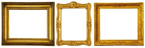 Reeks weinig gouden frames Royalty-vrije Stock Foto's